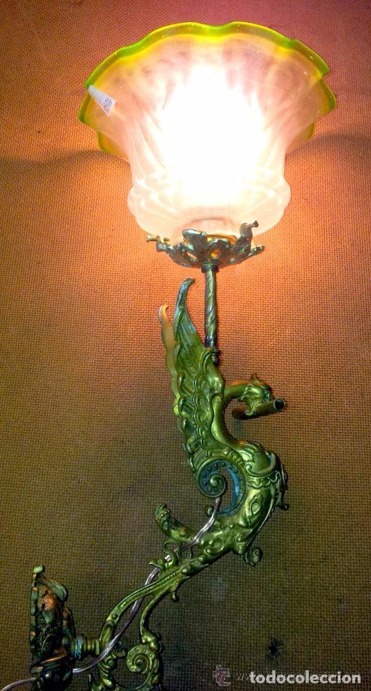 Antigüedades: APLIQUE DRAGON BRONCE,LAMPARA 1 LUZ MODERNISTA - Foto 7 - 140253146