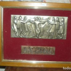 Antigüedades: PLACA AVE MARIA - RELIEVE METÁLICO CON SARDANA - RELIEVE METALICO AVE MARIA. Lote 140255474