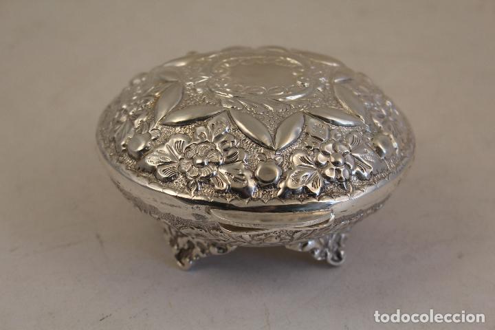 Antigüedades: caja joyero en plata maciza de ley 925milesimas - Foto 8 - 152256212