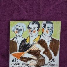 Antigüedades: BONITO AZULEJO PINTADO Y FIRMADO POR JORDI CUROS, OLOT, EN CATALÁN, ÚNICO. Lote 140299074