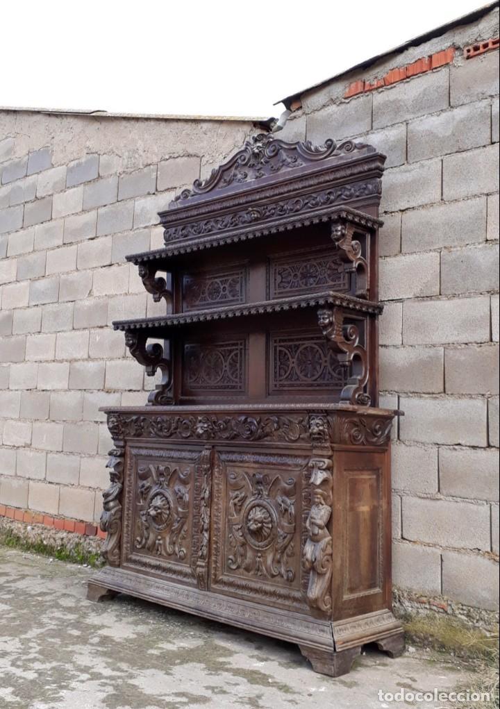 Antigüedades: Mueble salón aparador antiguo estilo Luis XIII. Bufet estantería librero estilo rústico renacimiento - Foto 4 - 140316830
