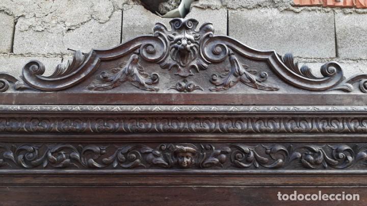 Antigüedades: Mueble salón aparador antiguo estilo Luis XIII. Bufet estantería librero estilo rústico renacimiento - Foto 6 - 140316830