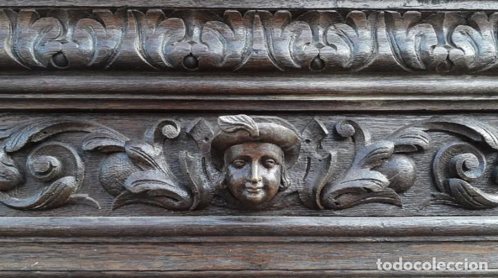 Antigüedades: Mueble salón aparador antiguo estilo Luis XIII. Bufet estantería librero estilo rústico renacimiento - Foto 8 - 140316830