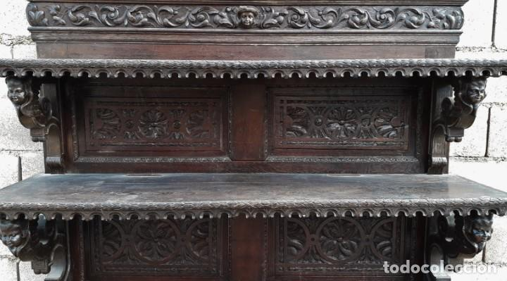 Antigüedades: Mueble salón aparador antiguo estilo Luis XIII. Bufet estantería librero estilo rústico renacimiento - Foto 9 - 140316830