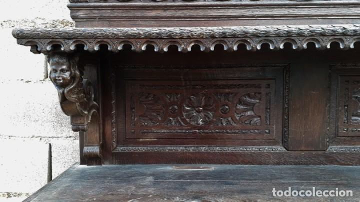 Antigüedades: Mueble salón aparador antiguo estilo Luis XIII. Bufet estantería librero estilo rústico renacimiento - Foto 10 - 140316830