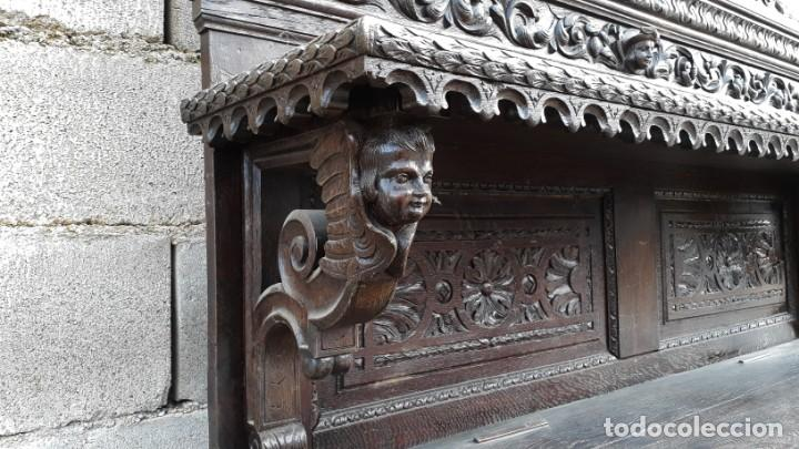 Antigüedades: Mueble salón aparador antiguo estilo Luis XIII. Bufet estantería librero estilo rústico renacimiento - Foto 11 - 140316830