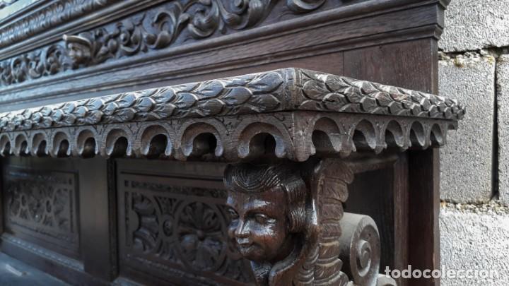 Antigüedades: Mueble salón aparador antiguo estilo Luis XIII. Bufet estantería librero estilo rústico renacimiento - Foto 13 - 140316830