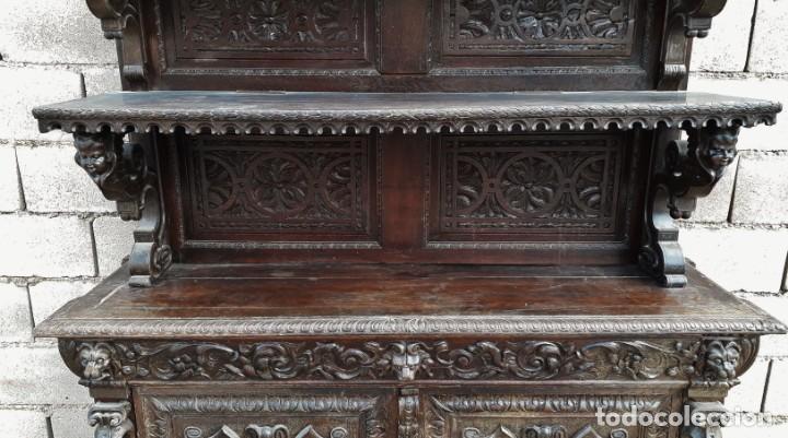Antigüedades: Mueble salón aparador antiguo estilo Luis XIII. Bufet estantería librero estilo rústico renacimiento - Foto 15 - 140316830