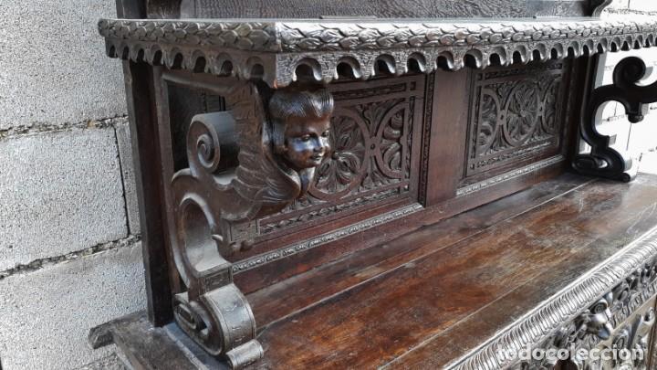 Antigüedades: Mueble salón aparador antiguo estilo Luis XIII. Bufet estantería librero estilo rústico renacimiento - Foto 16 - 140316830