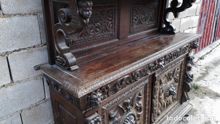 Antigüedades: Mueble salón aparador antiguo estilo Luis XIII. Bufet estantería librero estilo rústico renacimiento - Foto 17 - 140316830