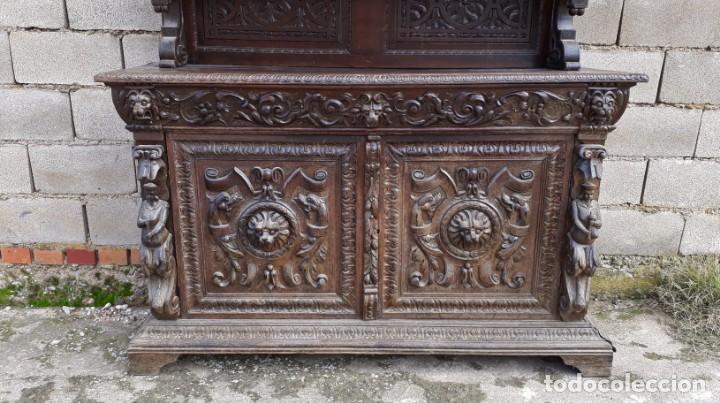 Antigüedades: Mueble salón aparador antiguo estilo Luis XIII. Bufet estantería librero estilo rústico renacimiento - Foto 19 - 140316830