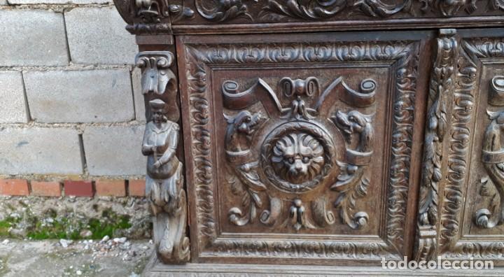 Antigüedades: Mueble salón aparador antiguo estilo Luis XIII. Bufet estantería librero estilo rústico renacimiento - Foto 20 - 140316830