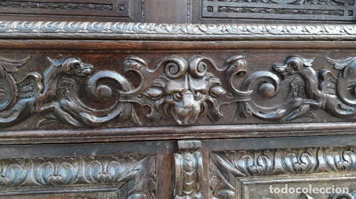 Antigüedades: Mueble salón aparador antiguo estilo Luis XIII. Bufet estantería librero estilo rústico renacimiento - Foto 21 - 140316830