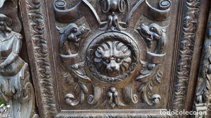Antigüedades: Mueble salón aparador antiguo estilo Luis XIII. Bufet estantería librero estilo rústico renacimiento - Foto 22 - 140316830