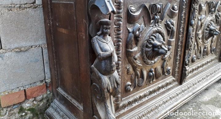 Antigüedades: Mueble salón aparador antiguo estilo Luis XIII. Bufet estantería librero estilo rústico renacimiento - Foto 23 - 140316830