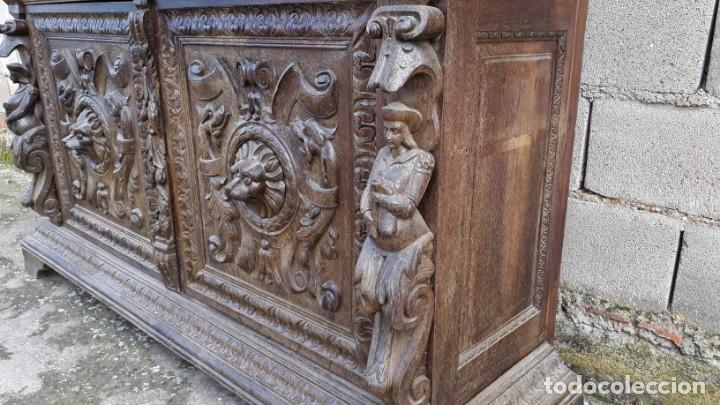 Antigüedades: Mueble salón aparador antiguo estilo Luis XIII. Bufet estantería librero estilo rústico renacimiento - Foto 24 - 140316830