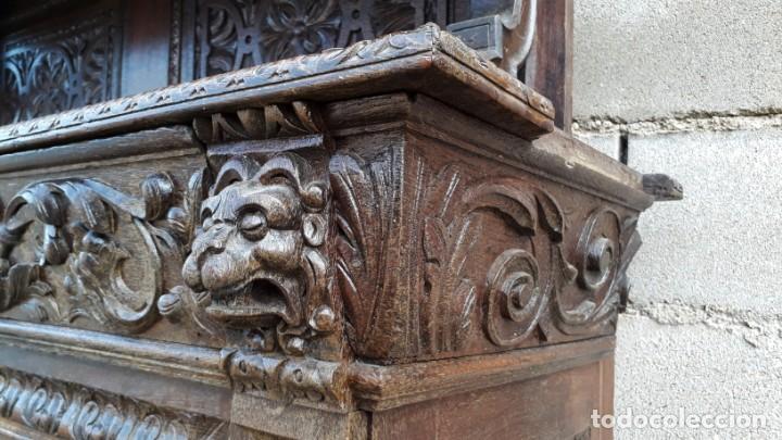 Antigüedades: Mueble salón aparador antiguo estilo Luis XIII. Bufet estantería librero estilo rústico renacimiento - Foto 26 - 140316830