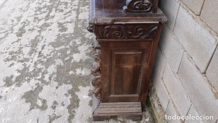 Antigüedades: Mueble salón aparador antiguo estilo Luis XIII. Bufet estantería librero estilo rústico renacimiento - Foto 27 - 140316830