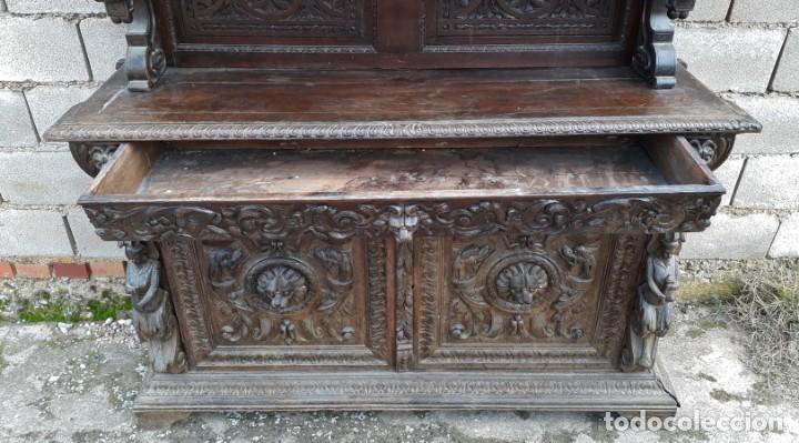 Antigüedades: Mueble salón aparador antiguo estilo Luis XIII. Bufet estantería librero estilo rústico renacimiento - Foto 28 - 140316830