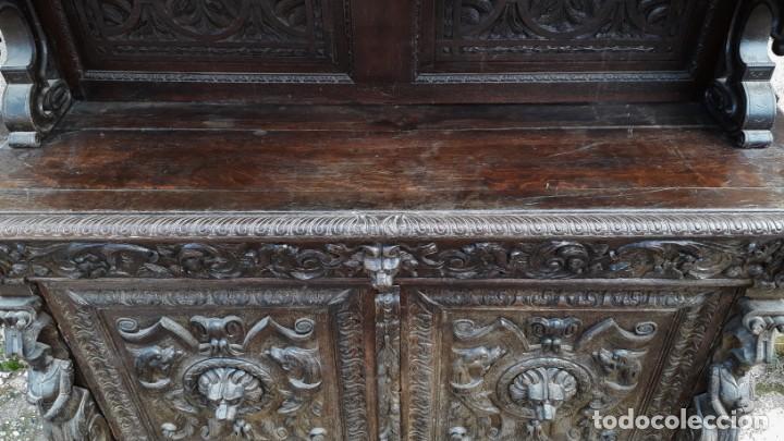 Antigüedades: Mueble salón aparador antiguo estilo Luis XIII. Bufet estantería librero estilo rústico renacimiento - Foto 29 - 140316830