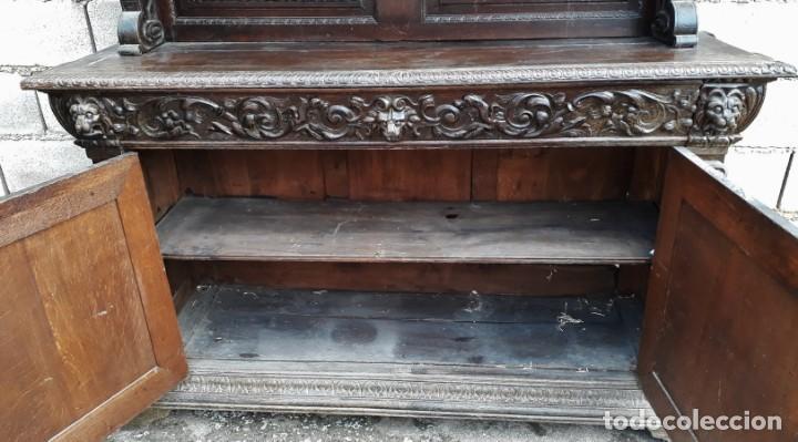 Antigüedades: Mueble salón aparador antiguo estilo Luis XIII. Bufet estantería librero estilo rústico renacimiento - Foto 30 - 140316830