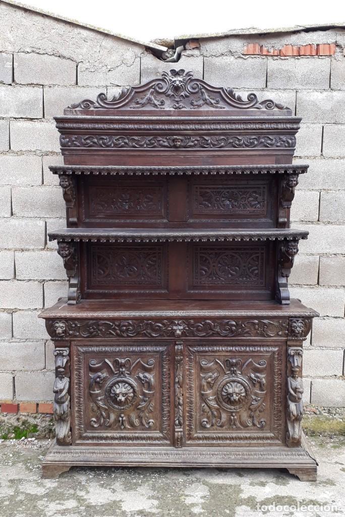 Antigüedades: Mueble salón aparador antiguo estilo Luis XIII. Bufet estantería librero estilo rústico renacimiento - Foto 31 - 140316830