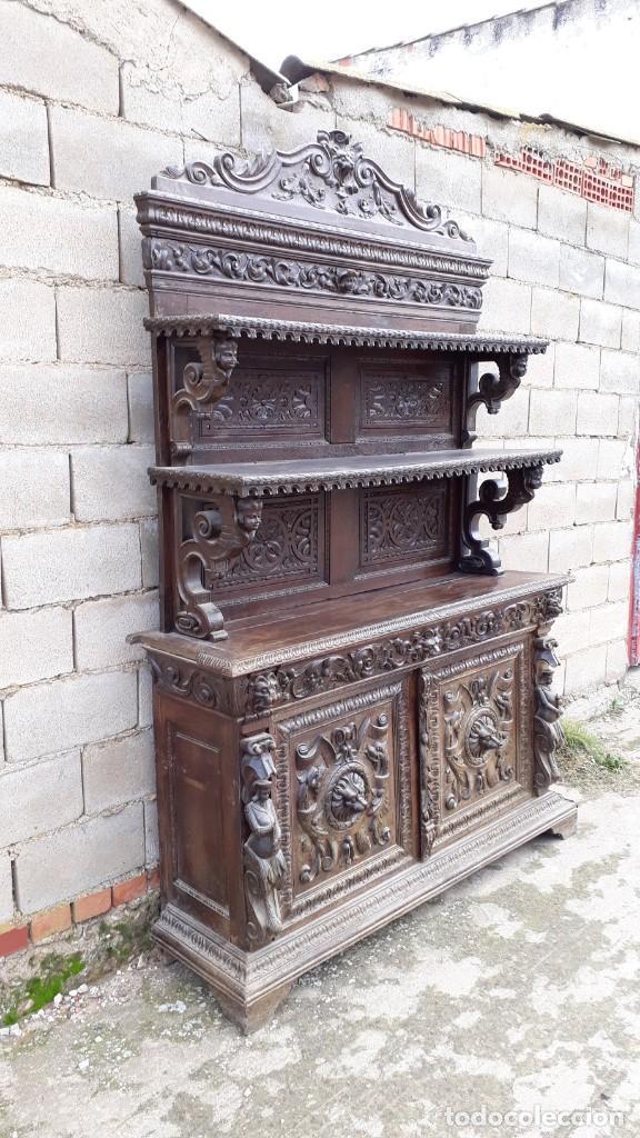 Antigüedades: Mueble salón aparador antiguo estilo Luis XIII. Bufet estantería librero estilo rústico renacimiento - Foto 33 - 140316830