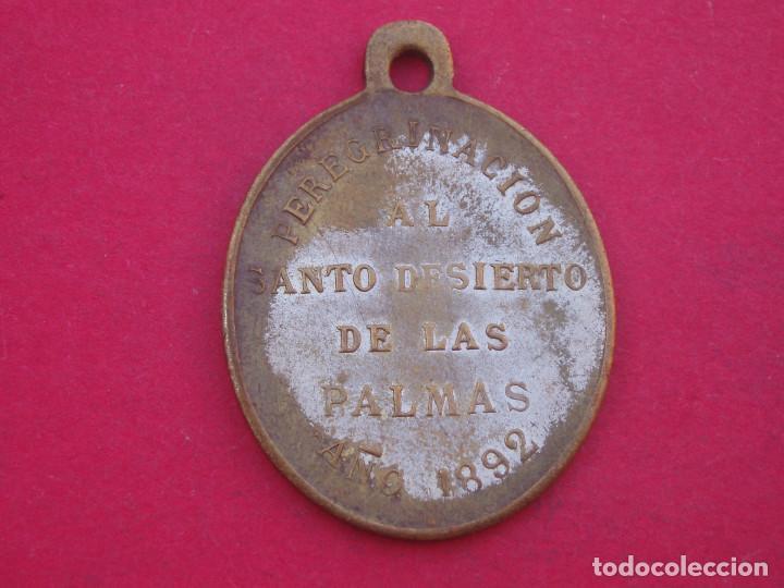 Antigüedades: Medalla Siglo XIX San Juan de la Cruz. Santo Desierto de las Palmas. Castellón. Año 1892 - Foto 2 - 140327770