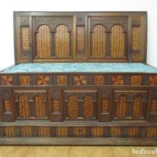 Antigüedades: CAJA DE NOVIA CATALANA - BAÚL - ARCA BARROCA - MADERA DE NOGAL - MARQUETERÍA - FINALES S. XVII. Lote 140344070