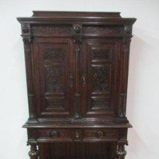 Antigüedades: BONITA VITRINA ESCRITORIO, ALFONSINO - MADERA DE NOGAL EBONIZADA Y LIMONCILLO - FINALES S. XIX. Lote 140350634