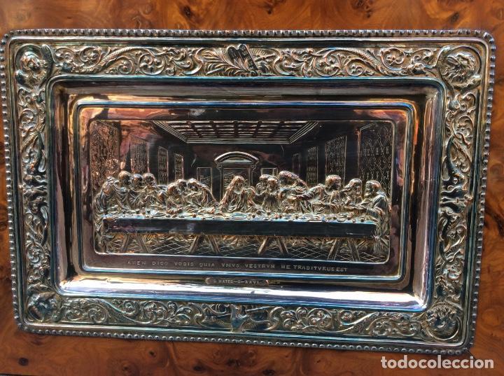 Antigüedades: Preciosa placa de la última cena labrada en cobre con baño de plata - Foto 2 - 140372642