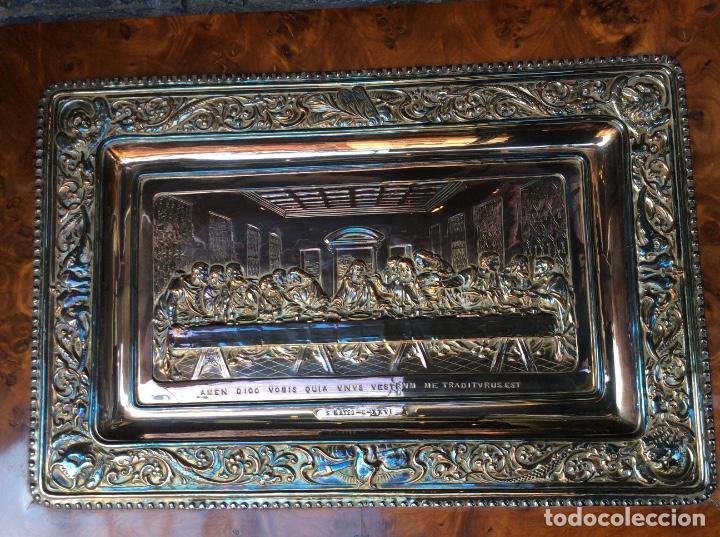 Antigüedades: Preciosa placa de la última cena labrada en cobre con baño de plata - Foto 3 - 140372642