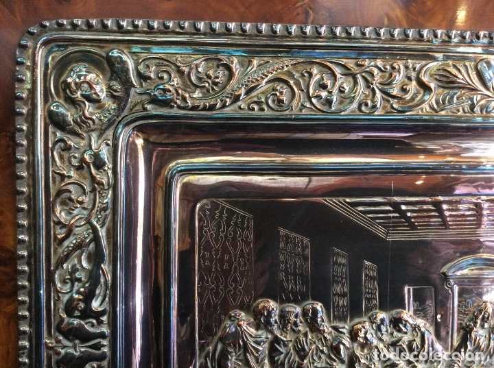 Antigüedades: Preciosa placa de la última cena labrada en cobre con baño de plata - Foto 5 - 140372642