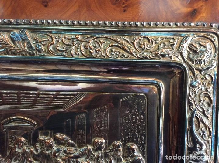 Antigüedades: Preciosa placa de la última cena labrada en cobre con baño de plata - Foto 6 - 140372642