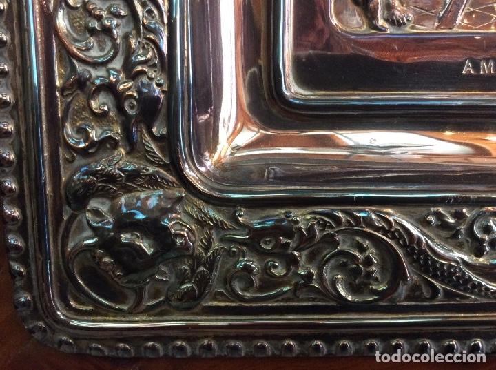 Antigüedades: Preciosa placa de la última cena labrada en cobre con baño de plata - Foto 7 - 140372642