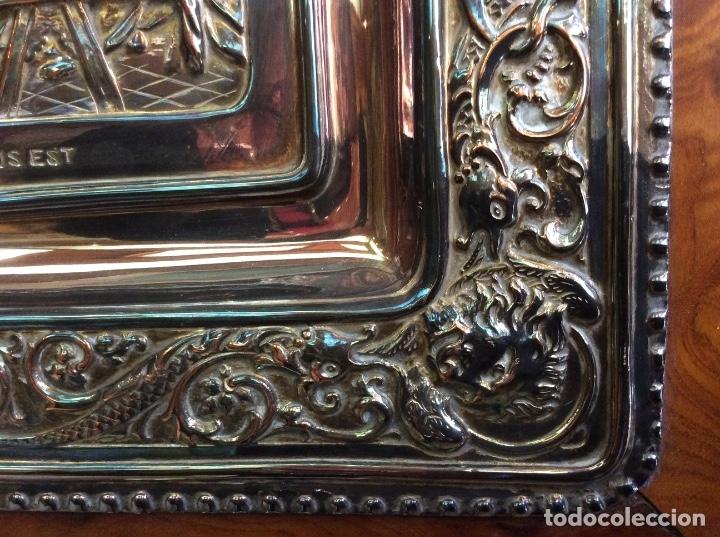 Antigüedades: Preciosa placa de la última cena labrada en cobre con baño de plata - Foto 9 - 140372642