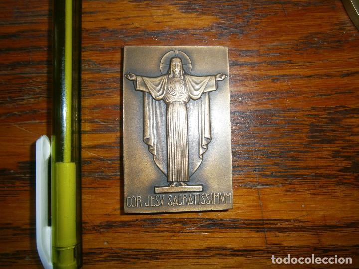¡¡PRECIOSA MEDALLA DE BRONCE¡¡DE M.DELANNOY¡¡¡¡¡COR,JESV,SACRATISSIMVM¡¡ UNICA EN TC¡¡ (Antigüedades - Religiosas - Medallas Antiguas)