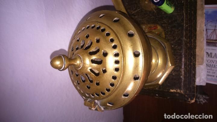 Antigüedades: Incensario metal bronce grande completo - Foto 2 - 140473694