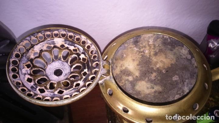 Antigüedades: Incensario metal bronce grande completo - Foto 3 - 140473694