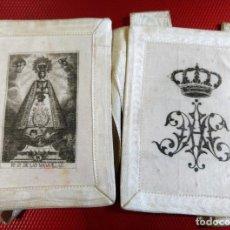 Antigüedades: PRECIOSO Y ANTIGUO ESCAPULARIO DE NUESTRA SEÑORA DE LAS MARAVILLAS 11,50 X 9 CM. Lote 140483974