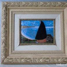 Antigüedades: CUADRO RELLENO DE COLOR ESMALTADO CON VIRGEN DE LA SOLEDAD FRENTE A UN OCEANO DE SOLITUD. Lote 140490306