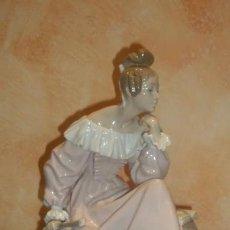 Antigüedades: GRAN FIGURA PORCELANA LLADRÓ 4978 DAMA CON ABANICO . EN EL JARDÍN.. Lote 140491786