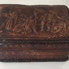 Antigüedades: CAJA ANTIGUA DE PIEL REPUJADA. Lote 140507394