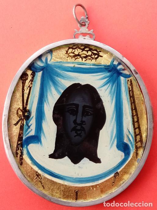 Antigüedades: RELICARIO DE PLATA SIGLO XVIII, CON ÓLEO BAJO CRISTAL DE INMACULADA Y SANTA FAZ. DIM.- 11.1X8,7 CMS - Foto 3 - 140530918