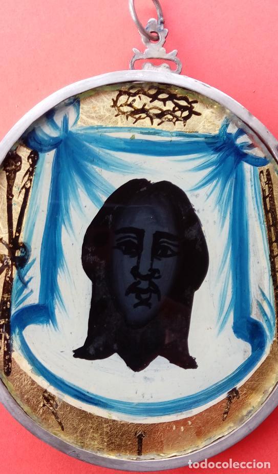 Antigüedades: RELICARIO DE PLATA SIGLO XVIII, CON ÓLEO BAJO CRISTAL DE INMACULADA Y SANTA FAZ. DIM.- 11.1X8,7 CMS - Foto 4 - 140530918