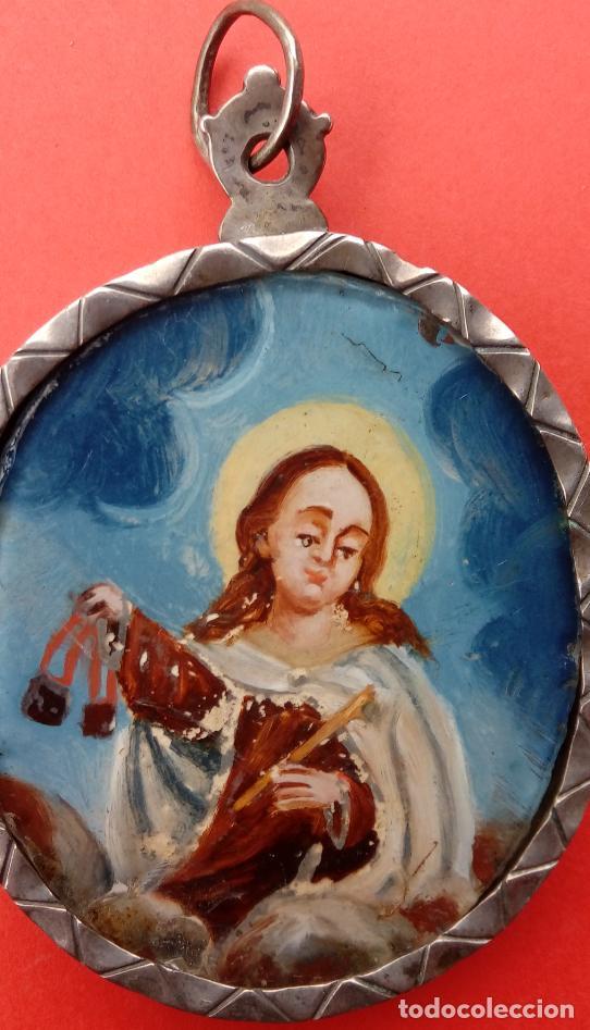 RELICARIO DE PLATA SIGLO XVIII, CON ÓLEO BAJO CRISTAL DE VIRGEN DEL CARMEN Y ECCE HOMO. 7.5X5 CMS (Antigüedades - Religiosas - Relicarios y Custodias)