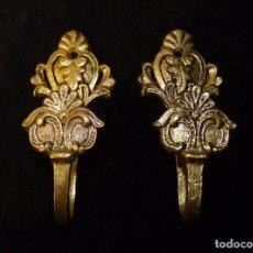 Antigüedades: ANTIGUA PAREJA DE ALZAPAÑOS. SUJETA CORTINAS. BRONCE. 11X5 CM. (2). Lote 140554734