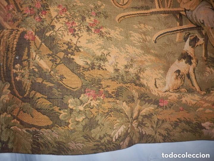 Antigüedades: T5 Gran tapiz de Jaquard Gobelino principios s XX escena bucólica 140x95 cm - Foto 3 - 140572786