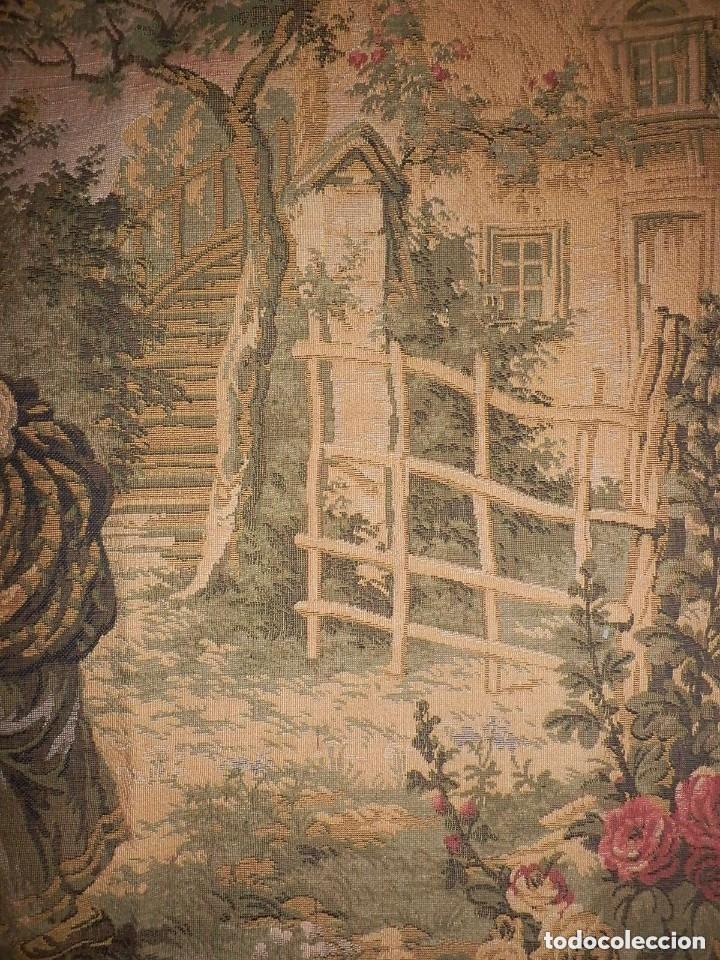 Antigüedades: T5 Gran tapiz de Jaquard Gobelino principios s XX escena bucólica 140x95 cm - Foto 5 - 140572786
