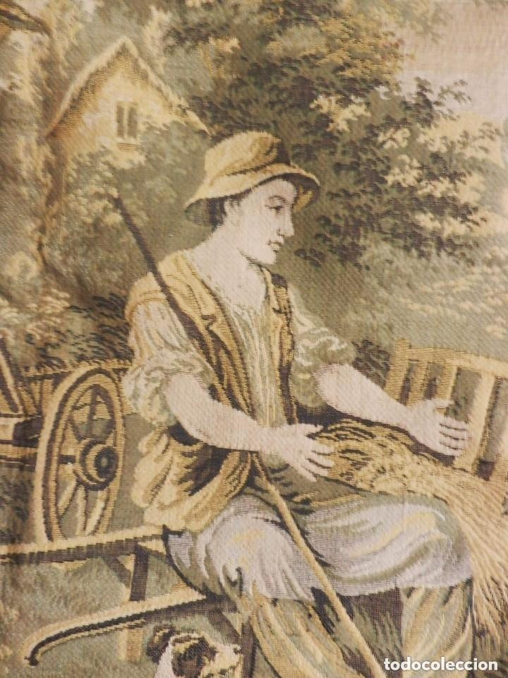 Antigüedades: T5 Gran tapiz de Jaquard Gobelino principios s XX escena bucólica 140x95 cm - Foto 6 - 140572786
